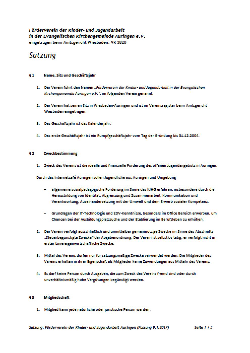 Förderverein Satzung